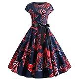 Plus Maxi Dress,Women's Navy Red Flower Fashion Elegant Round Neck Short Sleeve Print Puff Dress,Navy,XXL