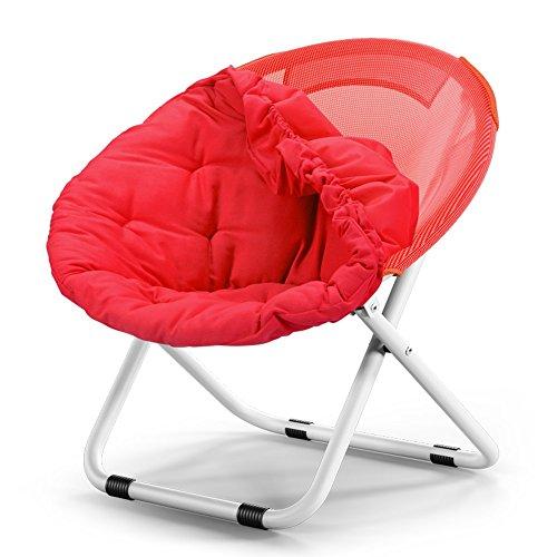 Washable folding chair / adult moon chair / sun chair / lazy chair / sun lounger / folding chair / round chair / sofa chair / solid color Home folding chair / lazy couch / ( Color : Red ) by Folding Chair