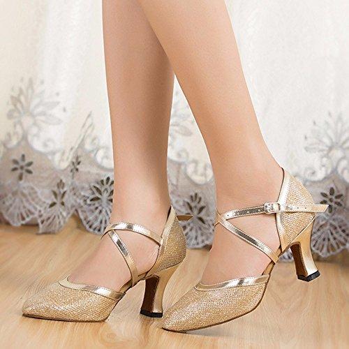 Masocking@ Mujer Zapatos de Baile Sandalias Cierre suaves dedos Oro