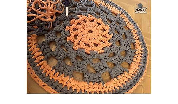 Alfombra redonda mandala hecha a mano en trapillo naranja y ...