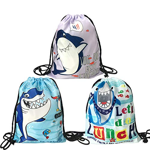 Cieovo 3 Pack Shark Drawstring Gift Bags, Reusable Goodie Treat Drawstring Bags Storage Tote Bag Printed Shark Backpack for Kids Baby Shower Shark Party Supplies -