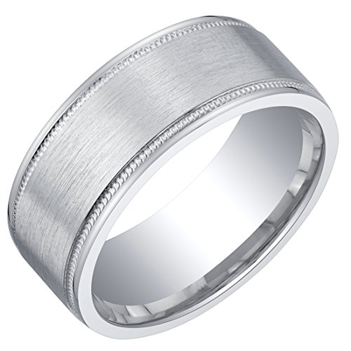 Mens Classic Sterling Silver Wedding Ring Band in Milgrain Brushed Matte 8mm Comfort Fit Size 12 ()