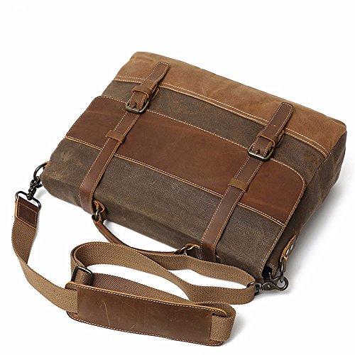 LMDSG 15,6-Zoll-öl leinwand Retro wasserdichte Umhängetasche Messenger Bag Männer Handtasche black