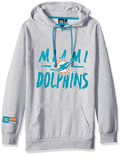 NFL Miami Dolphins Women's Fleece Hoodie Pullover Sweatshirt Tie Neck, Medium, Heather Gray