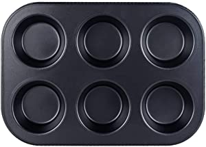 6 Cup Muffin & Cupcake Pan, Nonstick Brownie Pan, Heavy Duty Carbon Steel Bake for Oven Baking -Gray