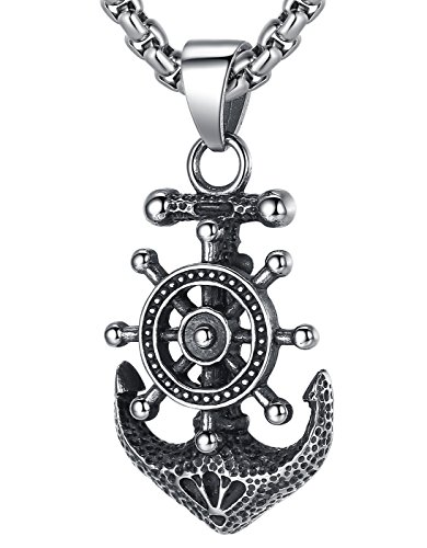 Ships Wheel Pendant - LineAve Men's Stainless Steel Anchor and Ship Wheel Pendant Necklace, 23