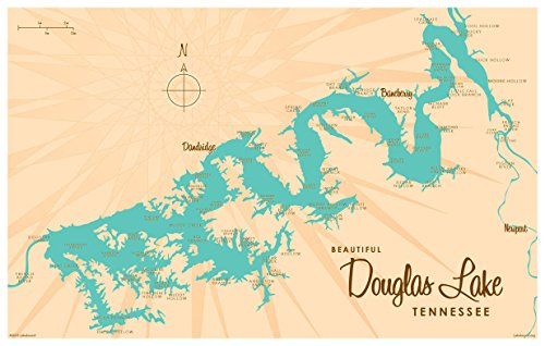 Northwest Art Mall Douglas Lake Tennessee Map Vintage Style Art Print By Lakebound  12  X 18