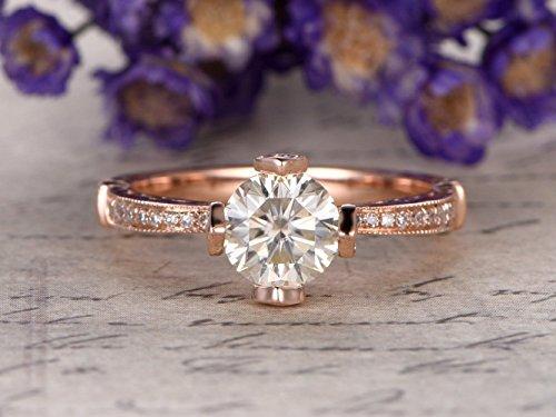 Milgrain Heart - Moissanite Engagement Ring Round Cut 6.5mm Gemstone SI I-J Diamond 14k Rose Gold,Milgrain Heart Ring,Bridal Ring,Wedding Ring