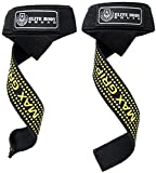 Elite Body Squad Weight Lifting Straps With Padded Wrist Support - Use Instead Of Weight Lifting Gloves To Get A Stronger Grip - Over 60cm Long With Rubber'MAX GRIP' Sticky Pads + FREE EBOOK