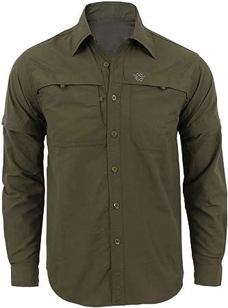 ღLILICATღ Camisa de Hombre Manga Largo Camisa de Aspecto Militar Camisa Worker de Moda de Secado Rápido Casual Militar Color Puro Blusa S-3XL: Amazon.es: Deportes y aire libre