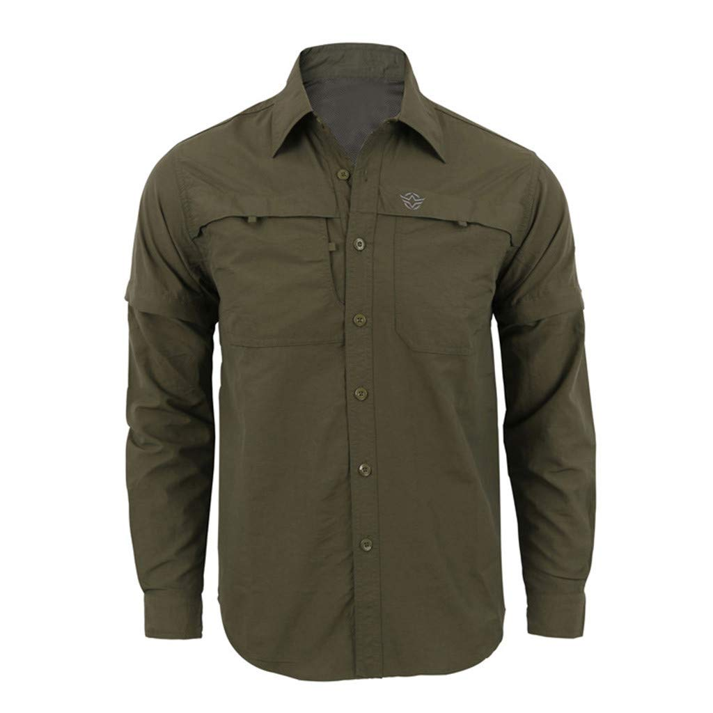 YenMY Fashion Men's Quick-Drying Casual Military Pure Color Long Sleeve T-Shirt Tops(XL,Army Green)