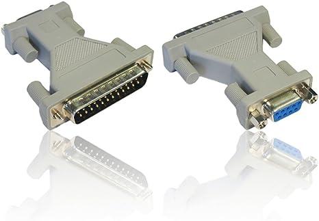 CDL Micro DB9 RS-232 Hembra a DB25 v/ías 25 Pin Adaptador de