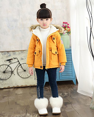 Coat Jacket Hooded Orange USA Winter Girls' Cotton Thick Flag Outwear Gaorui Uwq76ZRZ