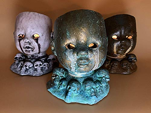 Creepy Doll Head Tea Light Holder with Glowing Eyes Home Decor ()