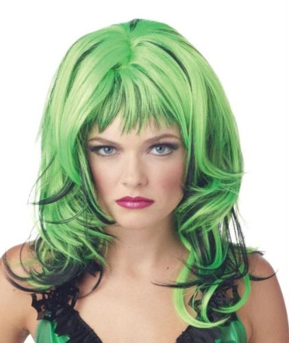 Rockin' Witch Adult Costumes (Morris Costumes Wig Hard Rockin Witch BK Green)