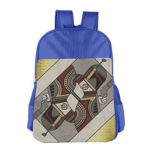 Boba Fett Playing Card Kids School Backpack Bag RoyalBlue (Bikini Playing Cards)