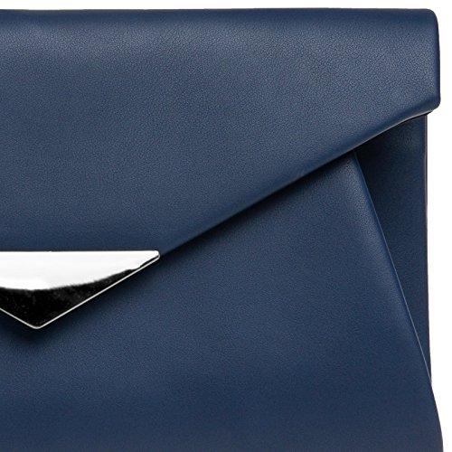 main de longue à Sac foncé femme Pochette bleu enveloppe CASPAR soirée élégant chaînette TA363 avec pour clutch O1wvxEtq