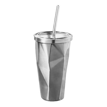 BESTOMZ Vaso de Acero Inoxidable con Pajita y Tapa Termo con Pared Doble Irregular para Café Agua Bebida 500ml (Color de Acero)