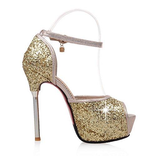 AdeeSu Womens Sequin Peep-Toe Slip-Resistant Platform Sequin Heeled Sandals SDC03785 Gold hV4UOPN