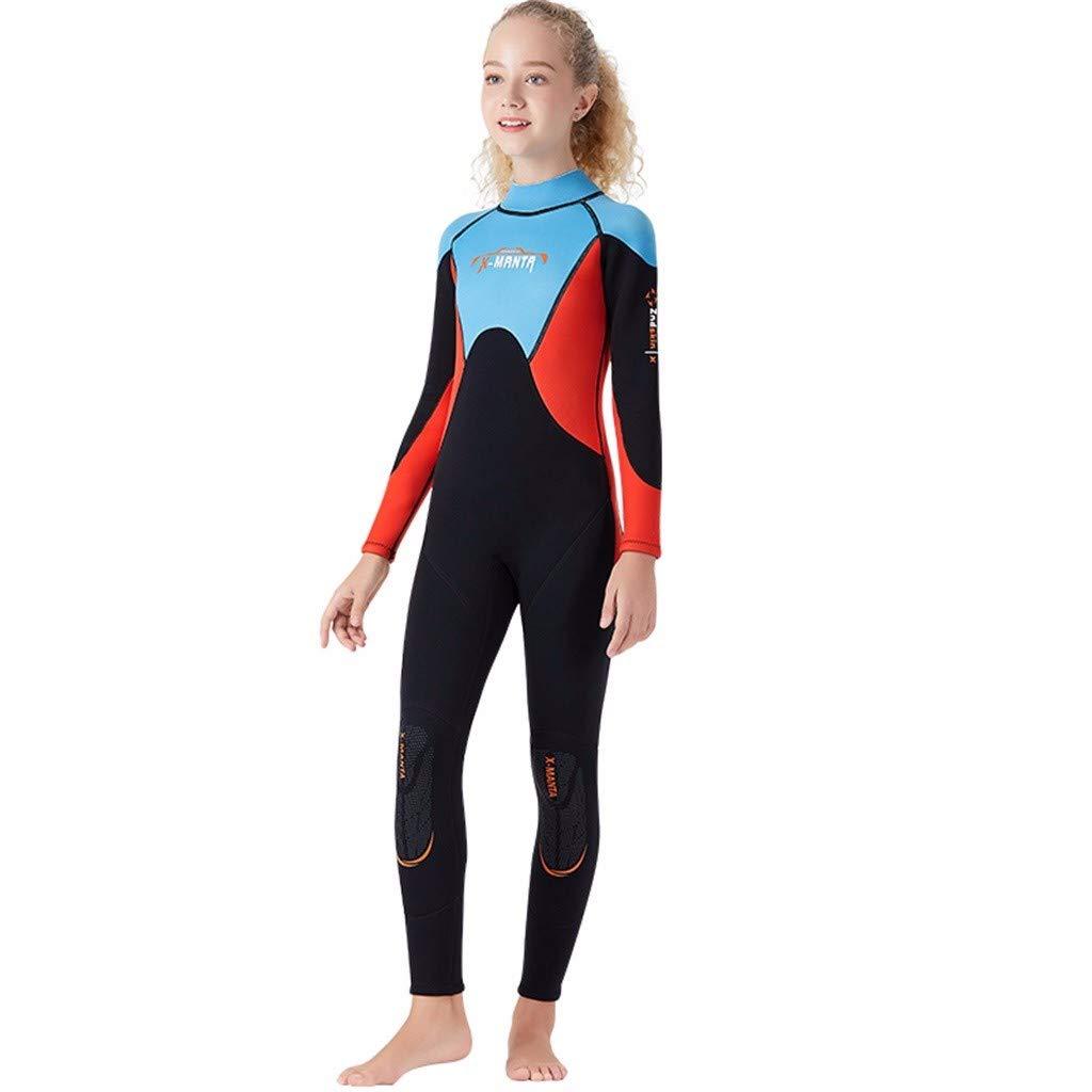 MTENG 2.5MM Neoprene Keep Warm Snorkeling Kids Girl Boy Scuba One-Piece Diving Suit Wetsuit Surfing Swimwear by MTENG