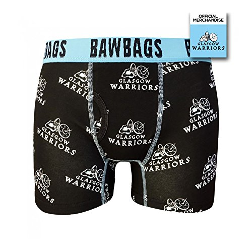 Bawbags Glasgow Warriors Badge Boxer Shorts - Black Medium