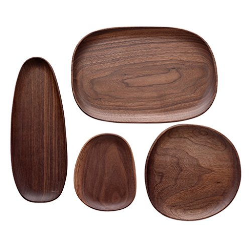 Plate Wooden Household Breakfast Plate, Irregular Oval Wood Plate Set, Kitchen Compote Tea Tray Dessert Plate (Color : Brown)