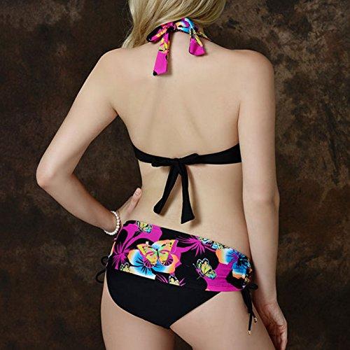 Feoya Bañador Estampado para Mujer Bikini de 2 piezas Elástico Traje de Baño Verano Rosa oscuro