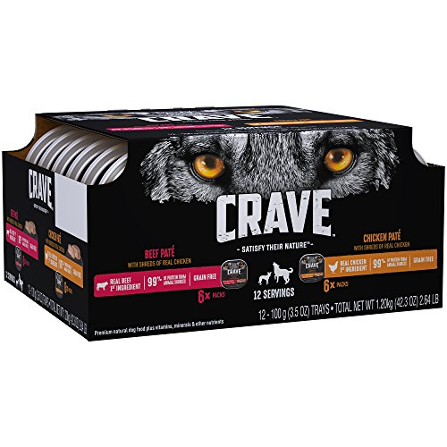 CRAVE Grain Free Adult Wet Dog Food Chicken & Beef Patés with Shreds of Real Chicken Variety Pack, (12) 3.5 oz. Trays