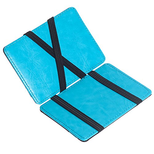 CKLT Men's Fashion Magic Money Clip Leather Minimalistic Slim Wallet Lake Blue
