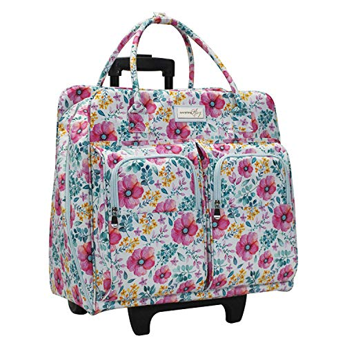 (Everything Mary Deluxe Light Blue Floral Rolling Sewing Machine Case - Sewing Case Fits Most Brother & Singer Sewing Machines - Premium Teacher Rolling Travel Case for Teachers, Students, School)