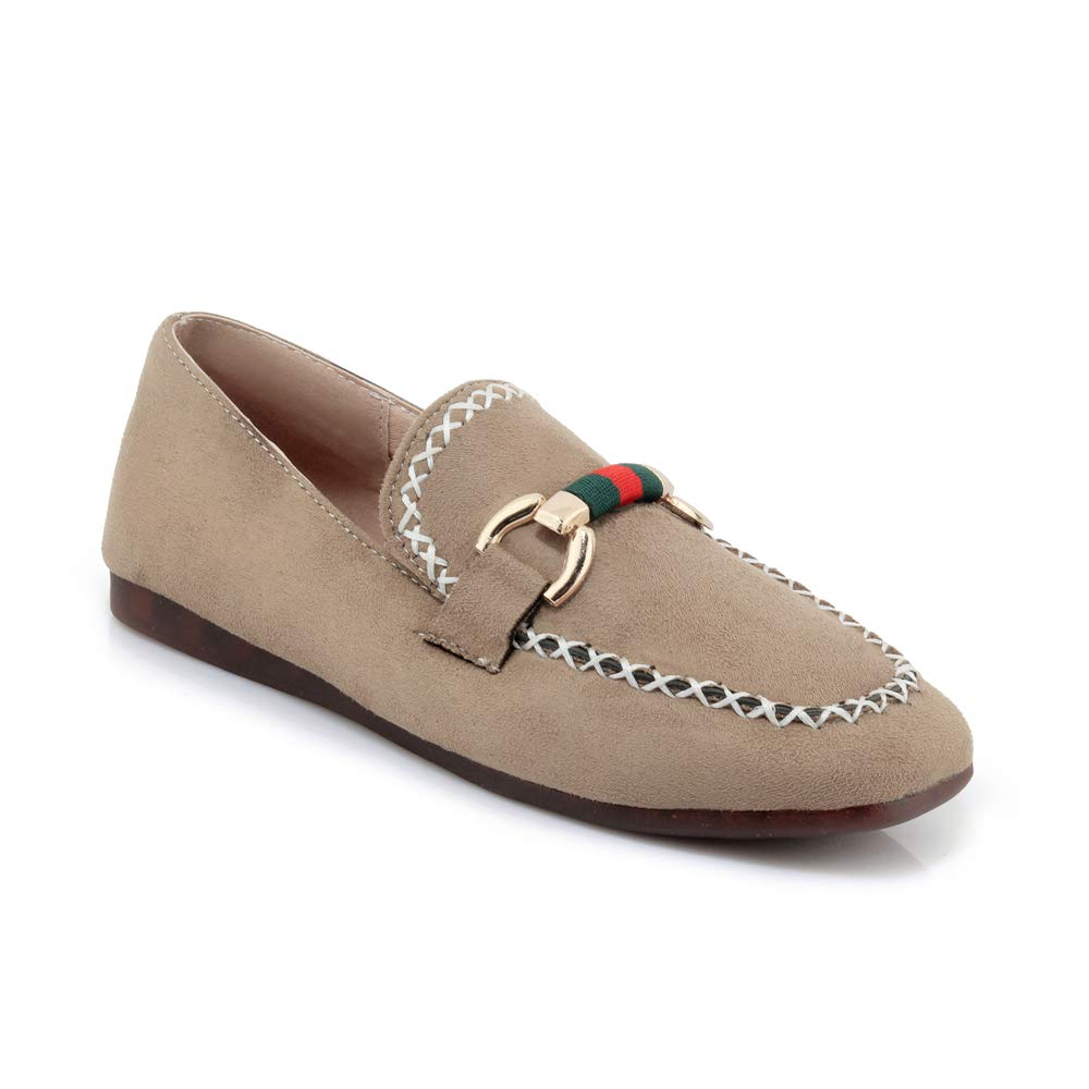 Eithy Suede Penny Loafers Women Flats Slip On Shoes Apricot US 6.5-7