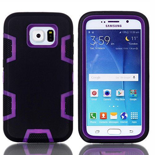 Galaxy S6 Case, Firefish [Slim Fit] Soft Silicone and Hard PC Hybrid Cover [Shock Proof] Anti Scratch Protective Case for Samsung Galaxy S6 - Black Purple Diamond Sim Card