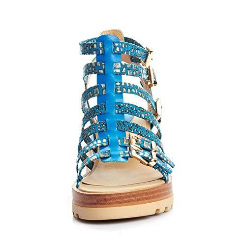 Allhqfashion Kvinners Titte Toe Ku Lær Lave Hæler Faste Sandaler Med Metalornament Og Kile Blå
