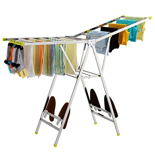 DGF Clothes Rack, Floor Folding Indoor Drying Rack, Simple Stainless Steel Clothes Hanger (L136cm W42cm H130cm) by Great St.