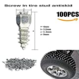100Pcs Screw in Tire Studs Wheel Tyres Snow Chains Stud for Car/Truck ATV (9MM)