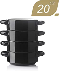 SWEEJAR Ceramic Soup Bowl with Double Handles, 20 Oz Stacked Bowls for French Onion Soup, Cereal, Stew, Chill, Pasta, Set of 4 (Black)