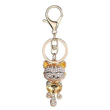 Bobury Rhinestone Encantador del Gato llaveros Regalos de joyería Anillo Llavero de Cristal Colgante del Bolso del Llavero niñas: Amazon.es: Hogar
