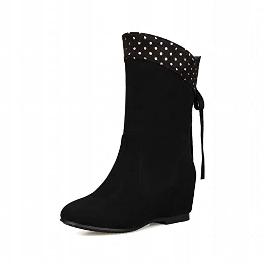 Women's Studded Bowknots Fashion Charm Date Wedge Heel Dress Boots