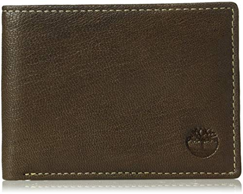 Timberland Men's Leather RFID Blocking Passcase Security Wallet, dark brown, One ()