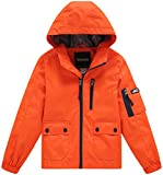Wantdo Boy's Ultra Light Packable Travel Jacket Outdoor Windcheater Zipped Hoodies for Traveling(Lily Orange Yellow, 14/16)
