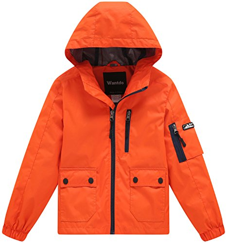 Wantdo Boy's Ultra Light Packable Travel Jacket Outdoor Windcheater Zipped Hoodies for Traveling(Lily Orange Yellow, 14/16) by Wantdo (Image #1)