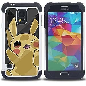 - Cute Yellow P0Kemon/ H???¡¯????brido 3in1 Deluxe Impreso duro Soft Alto Impacto caja de la armadura Defender - SHIMIN CAO - For Samsung Galaxy S5 I9600 G9009 G9008V