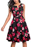 HOMEYEE Women's Casual Sleeveless Floral Fit Flare Dress A091(12,Black + Red Flower)
