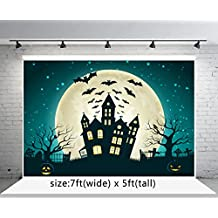 7x5ft Pumpkin Faces and Bat Black Castle Photography Backgrounds no Wrinkle Cartoon Painting Backdrops for Halloween wd089