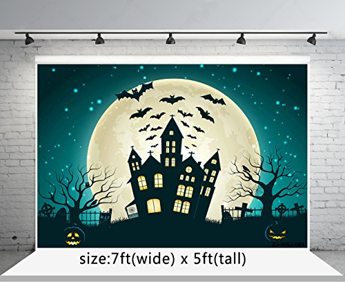 7x5ft Pumpkin Faces and Bat Black Castle Photography Backgrounds no Wrinkle Cartoon Painting Backdrops for Halloween wd089]()