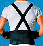 SPECIAL PACK OF 3-9 Back Belts With Suspenders Black X-Large Sportaid