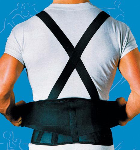 SPECIAL PACK OF 3-9 Back Belts With Suspenders Black X-Large Sportaid by Marble Medical