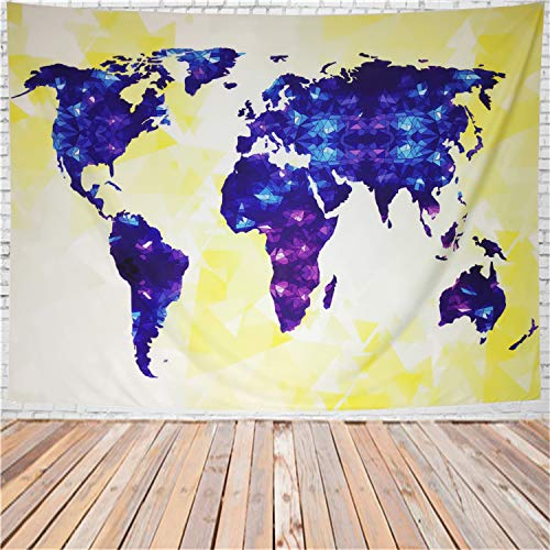Map Tapestry Colorful 3D Geometric Diamond Map Tapestry Wall Hanging  Vintage Abstract World Map Painting Wall Tapestry for Living Room Bedroom  Dorm