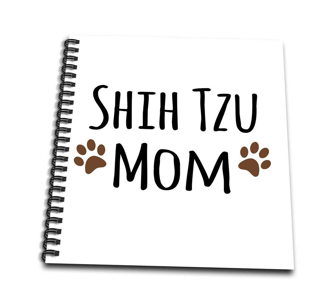 3dRose Shih Tzu Dog Mom - Doggie by Breed - Muddy Brown Paw Prints - Doggy Lover - Proud Pet Owner Mama - Drawing Book, 8 by 8-Inch (db_154196_1)
