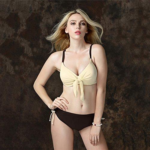 YONGYI Europa y el elegante y atractivo de verano en la playa occidental de color puro Color puro dividir dos piezas bikini swimsuit partículas de acero y traje de baño Bikini